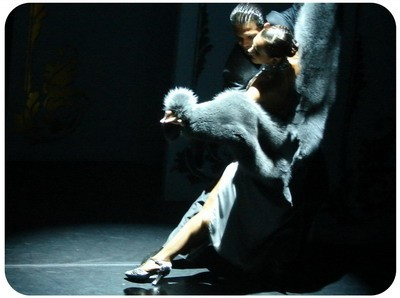 Luxury dressed couple of dancers at a Tango dinner show in Buenos Aires