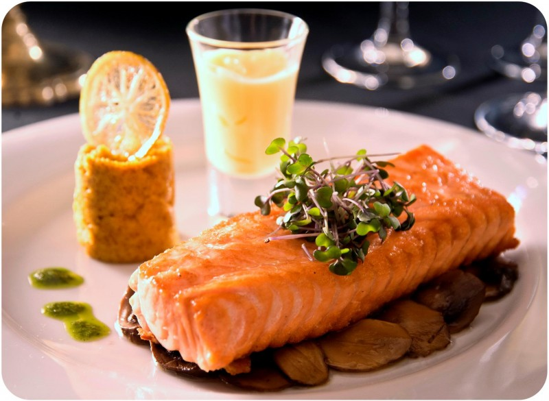 Salmon served at a Tango dinner show in Buenos Aires